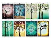 ACEO Set of 8, ACEO Tree Art Prints, Natured Inspired Tree of Life Art, ATC, Artist Trading Cards, Signed 2.5 x3.5