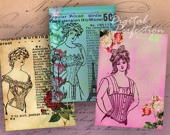 INSTANT DOWNLOAD Digital Collage Sheet Vintage Corsets Ads for your ATC's 2.5 X 3.5 inch - DigitalPerfection digital collage sheet 417