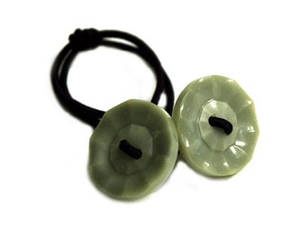 Jadeite Green Ponytail Holder, Vintage Glass Buttons Hair Accessory