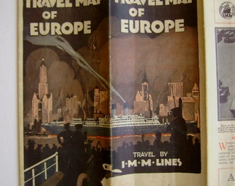 Rare Original Antique 1927 Travel Map of Europe~International Mercantile Marine, Owner of the White Star Line, With Maps of Paris & London