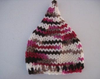 chunky pixie hat - multi - newborn  - READY TO SHIP