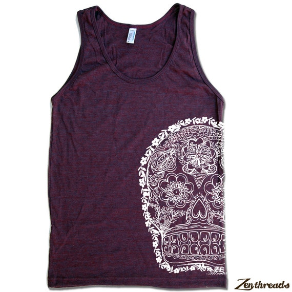 Unisex Day Of The DEAD 2 Tri Blend Tank american apparel XS S M L XL (7 Colors)