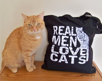 Funny tote, Canvas tote bag, Cat tote bag, Real Men Love Cats, Crazy Cat Lady, canvas quote tote, cats, gift for her, cat purse, RCTees