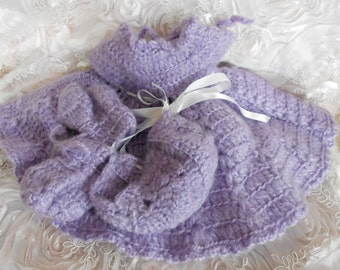 Lavender Hand Crocheted Doll Dress and Booties
