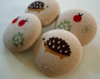 Hedgehogs Ladybugs and Clover Fabric-Covered Buttons - Woodland Fabric Covered Buttons