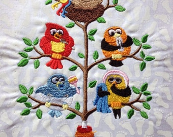 Baby Bird Tweet - embroidered quilt block - ready to sew or frame 9 in x 11 in
