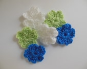 Crocheted Flowers  - Blue, Lime Green and White - Acrylic Yarn - Crocheted Embellishments - Crocheted Appliques