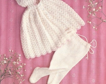 "PDF Knitting Pattern Baby Christening Cape to fit size 16-19"" (N357)"