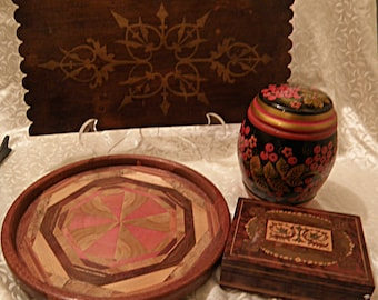Painted Russian Container, Card Box and Decorative Wood Piece,  Laminate Plate