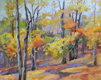 Original Oil Painting Fall Trees Landscape by Marty Husted