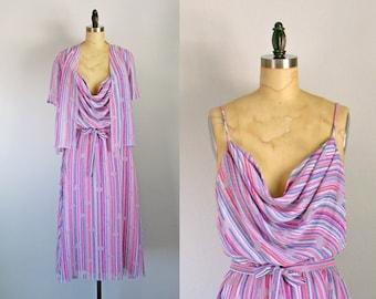 70s lavender heliotrope sheer op art vintage dress jacket size 11/12