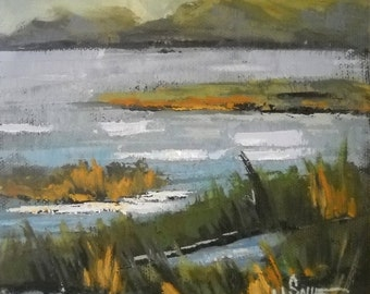 "Marsh Landscape Painting, Daily Painting, ""North Florida Marsh"" by Carol Schiff, 6x6x1.5 Oil"