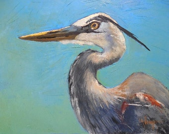 "Bird Painting, Wildlife painting, Daily Painting, ""Great Blue Heron"" by Carol Schiff, 11x14x1.5 Oil"