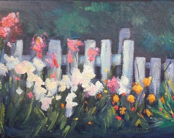 """Garden Painting, Daily Painting, Small OIl Painting, """"Picket Fence"""" by Carol Schiff 6x12x.75"""" Original Oil"""
