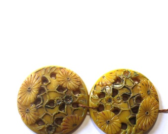 Super Large Antique Celluloid Coat Buttons or Wafer Cabochons (2) Carved, Painted, Floral, Yellow