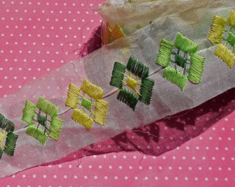 Vintage Lace Trim Cotton Organza Trim Embroidered Green Geometric
