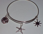 bracelet wire bangle adjustable silver plated - starfish - sand dollar - sun - charms with organza gift bag