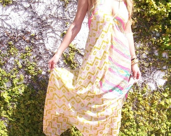SPRING SALE reconstructed backless long ethnic floral silk one of a kind summer dress one size