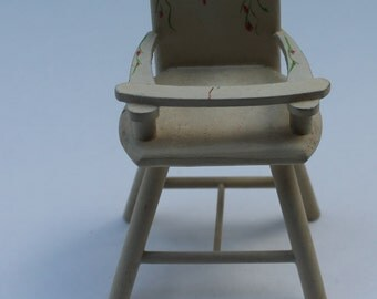 Dollhouse Miniature White HighChair with painted flowers