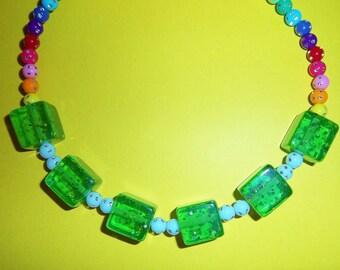 Lime Gelatin Cubes Necklace
