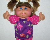 """Cabbage Patch Doll Clothes  Purple and Pink Flower Heart Top and Short Set 14"""" Doll Adoptimals"""