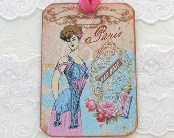 Tags Paris ,Lingerie Gift, Hang Party Tags, Bridal Shower Favors, French Paris Model,  High Tea Party, Vintage Retro, Handmade Australia
