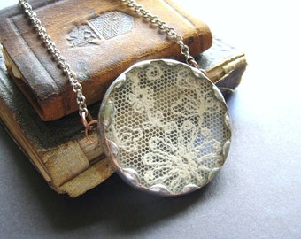 Purity - Antique Lace and Vintage Glass Hand Soldered Silver Tone Necklace