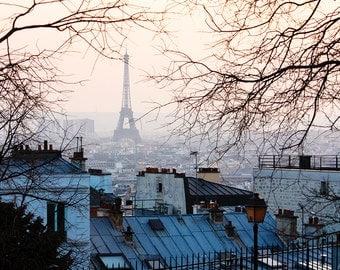 Paris Photography, Sunset in Montmartre, Parisian Rooftops, Eiffel tower, Living Room Art, Winter in Paris, Montmartre, Architecture