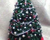 Holiday Sale 40% Off - Handmade Red and Silver Christmas Tree
