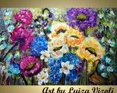 "FLOWERS 36"" Oil Painting Impressionist Dahlia Flowers Impasto Art Spring to Summer by Luiza Vizoli"