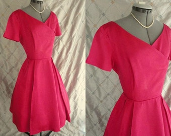 """60s Dress // L //  Vintage 1960s Hot Pink Satin Dress with Full Skirt by Miss Couture Size L 30"""" waist"""