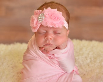 Beautiful Pink Shabby Flowers On Elastic Headband with Chic Shabby Flowers and Beautiful Bling Center