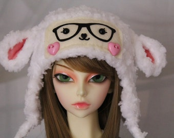 White Lamb Hat for SD BJD, 1/3 Doll, Size 8-9 Sheep Hat