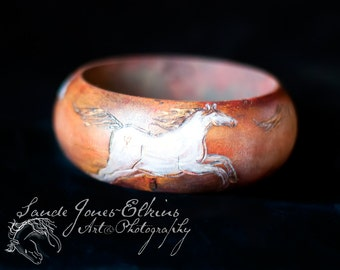 Wooden Horse, Hand Carved, Hand Painted Wooden Bangle With Horses Galloping Playfully Around