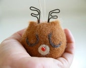 Reindeer Christmas Ornament, Rudolph Red Nosed Deer Decoration, All Natural, Eco Friendly, Cute Woodland Holiday Decor