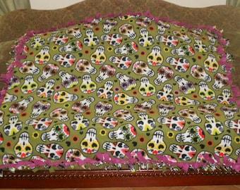 Sugar Skulls on Olive Green Hot Pink Back Fleece Tie Blanket No Sew Fleece Blanket No Sew Throw Knot Tie Blanket 48x60 Approximate