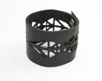 Leather Cuff Bracelet - Geometric Cutout Pattern (Black) - Size Medium
