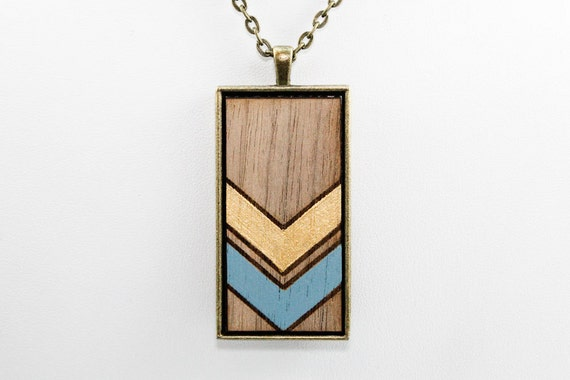 Geometric Chevron Pendant - Blue and Gold on Walnut Wood (Bronze Rectangle)