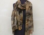 Silk scarf eco print hand dyed