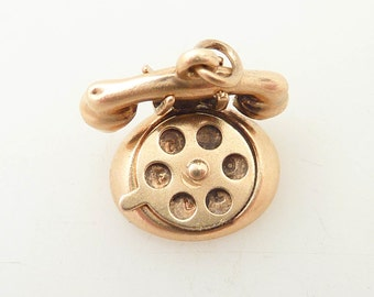 "Vintage 14K Gold Rotary Phone Charm with Moving Dial That reveals ""I Love U"""