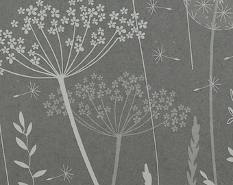 SAMPLE Paper Meadow Wallpaper - Charcoal