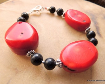 Chunky Red Coral Nuggets and Onyx Bracelet, Gemstone Bracelet, Handcrafted Jewelry, Red and Black, Biker Jewelry