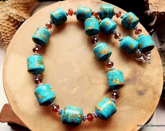 Chunky Mosaic Turquoise and Amber Necklace, Turquoise Necklace, Southwestern Style, Cowgirl Jewelry, Turquoise and Silver