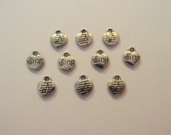Sing charms- ten charms- antiqued silver