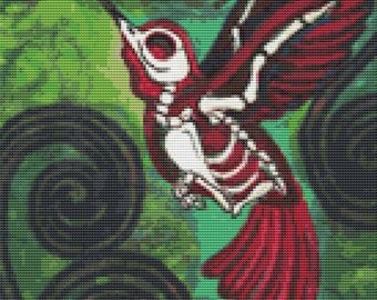 Modern Skeleton Hummingbird Cross Stitch Kit By Shayne of the Dead 'Last Flight' - DOTD Tattoo