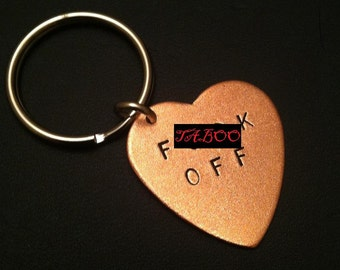 F .CK OFF Keychain--Copper Heart Key Ring, Mens Keychain, Key Ring, Unisex, MATURE, Metal Taboo