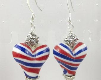 Heart lampwork earrings in red white and blue stripes - Patriotic - flag earrings - heart flag earrings