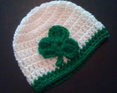 Shamrock Custom Irish Baby Hat Hand Crocheted Baby Gift