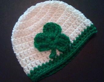 Shamrock Custom Irish Baby Hat Hand Crocheted Baby Gift