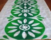 Block Printed Hemp Chopped Runner in Sunburst in Variegated Greens